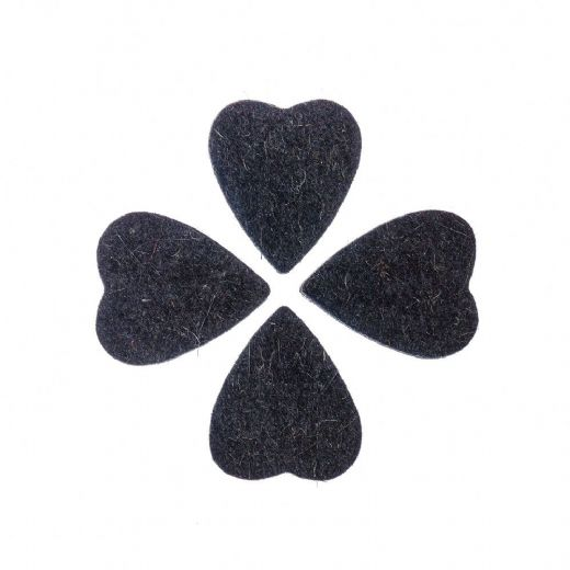 Felt Tones Heart Black Wool Felt 4 Picks